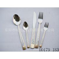 专业生产各类不锈钢亮光龙腾花镀金大勺、塑料柄餐具