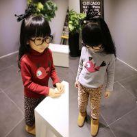 童T恤  韩版女童双层加厚卡通绣小鸟打底衫8168 童装