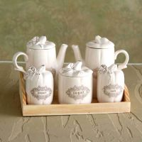 欧式田园 陶瓷 创意 餐桌油壶 调味瓶罐 醋油瓶 五件套装