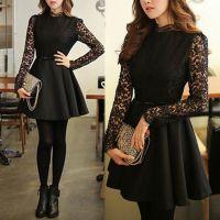 2014秋冬新款韩版修身蕾丝长袖呢子连衣裙高领拼接打底裙子