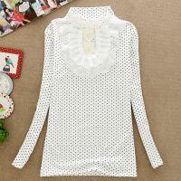 2014秋装新款女装 牛奶丝蕾丝刺绣波点高领长袖T恤 女式打底衫