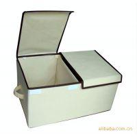 【厂家直批】优质无纺布 米色 双盖箱/储物箱/收纳箱.折叠双盖箱