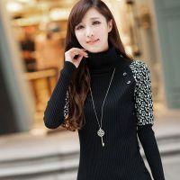 2014秋季新款韩版高领中长款修身豹纹袖针织衫 长袖打底衫毛衣女