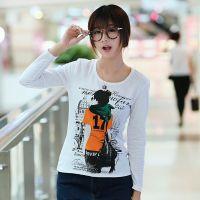 YB--1实拍2014秋装新款百搭纯色修身学生装休闲印花长袖T恤打底衫