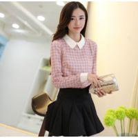 2014秋装韩版新款雪纺衬衫女打底衫 娃娃领打底衫长袖衬衫