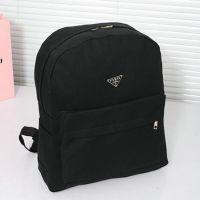 新款纯黑色书包帆布双肩包学院风中学生背包潮男女旅行电脑包