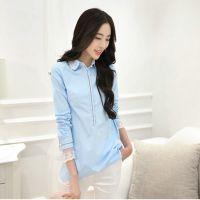 2014秋季新款韩版蕾丝领纯色打底衫衬衣女长袖
