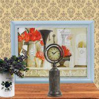 ST60154 春之号角创意座钟 复古做旧时钟摆件 欧式铁艺台面钟