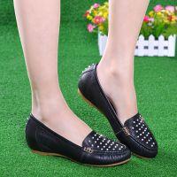 淘品牌上海优质真皮驾车女鞋9006-12新款豆豆鞋 舒适内增高单鞋