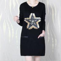加绒 黑色打底衫 秋冬韩版女装新款圆领五角星图案连衣裙工厂直销