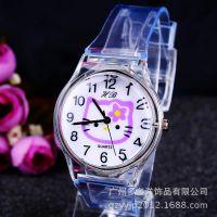 厂家直销 个性卡通时尚儿童手表 透明塑胶手表 学生表 171709