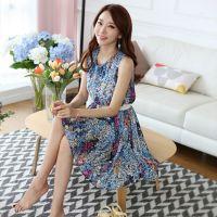 供应厂家批发 14夏季新款女装 韩版淑女优雅碎花雪纺无袖连衣裙A4245