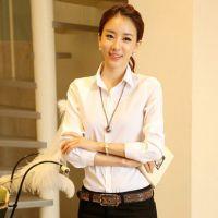 韩版女士长袖职业装女装秋装衬衫大码白色雪纺打底衫女修身衬衣