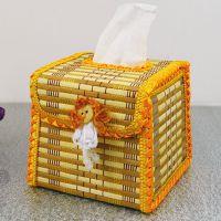 F149 中方形梯形工艺纸盒 竹编小纸巾盒 收纳盒抽纸纸巾盒