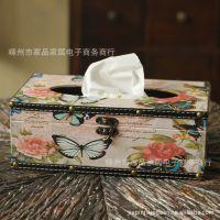 特价!欧式创意方形纸巾盒/餐巾纸盒抽纸盒纯手工木皮质/玫瑰蝴蝶