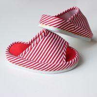2014新款女士家居拖鞋 红色条纹减肥美腿【半脚】拖鞋 厂家直销