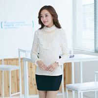韩版女装秋冬新款蕾丝打底衫一件代发 长袖加绒加厚气质蕾丝衫