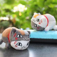外贸日本动漫夏目友人帐猫老师公仔 白猫斑变身4寸毛绒挂件混批