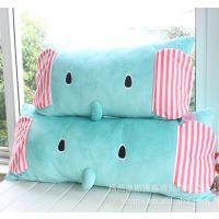 批发 忧伤马戏团 大象卡通毛绒靠垫 薄荷小象可拆洗单人枕双人枕