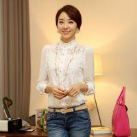 2014秋款 蕾丝上衣两件套 韩版长袖雪纺衫 新款大码打底衫