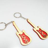 厂家直销大量批发 木质吉他形状配饰钥匙扣 挂件旅游钥匙扣挂件