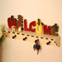 欧式田园乡村创意木质挂钩门口置物架欢迎牌装饰墙面钥匙挂衣架
