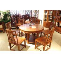 宁波红木家具专卖红木圆桌缅甸花梨餐厅家具红木家具十强