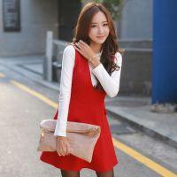 冬新款长袖修身深V领毛呢连衣裙 韩版呢子背心裙打底衫两件套8868