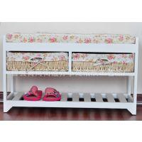 精美白色烤漆鞋柜 实木玄关柜 客厅鞋子收纳柜 田园风格鞋柜 实木