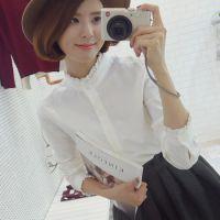 2014秋韩国 复古花边立领白衬衫女长袖休闲衬衣打底衫 上衣