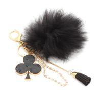 AM2936韩国创意包挂件饰品  超大雕毛球车钥匙扣批发 包包挂件