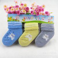 儿童袜批发 新款卡通婴幼儿保暖儿童毛圈袜加厚童袜一排三双