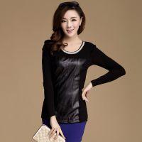 2014秋季新款韩版拼接加厚长袖女式打底衫 长袖修身显瘦圆领T恤女