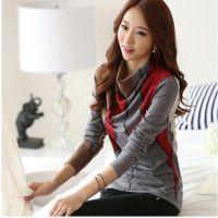 2014秋冬装新款韩版女装 拼接修身打底衫长袖 堆堆领打底衫批发