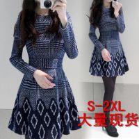 2014秋冬季韩版女装大码印花修身连衣裙加厚打底裙