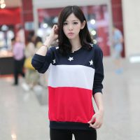 2014秋装新款蝙蝠袖长袖T恤女韩版拼接星星印花宽松打底衫T恤