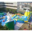 White and blue inflatable water park for summer holiday , inflatable shark pool park