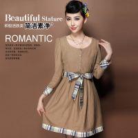 供应2013秋季女装欧洲品牌长袖纯色毛呢腰带修身连衣裙女装代理FN415