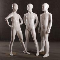 供应美力橱窗儿童模特道具展示 玻璃钢亮白抽象站姿男孩模特