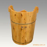 大量供应特色高实木足浴桶,熏蒸桶(黄棕色),浴桶 泡脚桶