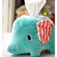 创意毛绒玩具 忧伤马戏团大象车用圆桶纸巾抽纸巾盒公仔