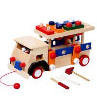 木制益智拆装螺母车工程车工具车儿童玩具男孩