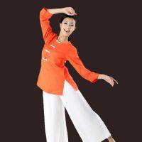 浓惠秋冬1201+2080 瑜伽服桔红色高档亚麻禅修服太极服新款上市
