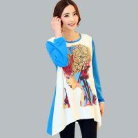 韩版中长款拼色印花长袖T恤女 2015春新款圆领宽松打底衫883032