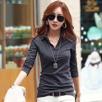 6057#秋装新款女装打底衫韩版修身女式衬衫领上衣 t恤女长袖