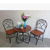 铁艺椅子复古小桌子田园桌椅 客厅阳台三件套 简约餐厅桌椅套装