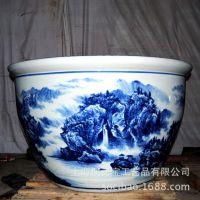 青花瓷陶瓷缸 景德镇陶瓷缸 陶瓷鱼缸 风水陶瓷缸