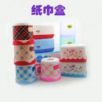 批发彩色纸巾盒餐巾纸盒抽纸盒时尚方形纸巾抽纸抽盒圆形