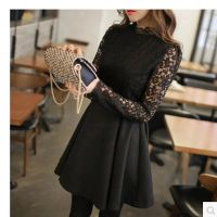 秋冬新款 蕾丝修身长袖连衣裙 拼接纯色羊毛呢打底裙
