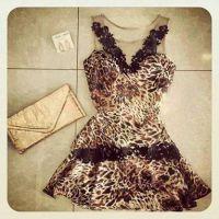 EBAY,速卖通热卖,豹纹网纱拼接修身连衣裙